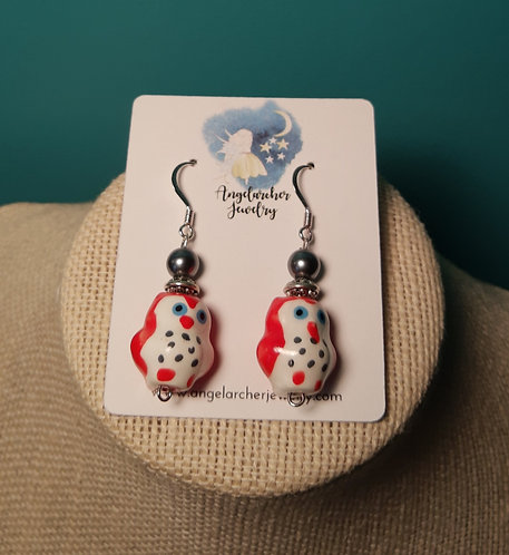 Red & Gray Owl Earrings