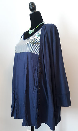 Snap Cardigan Sweater - Navy