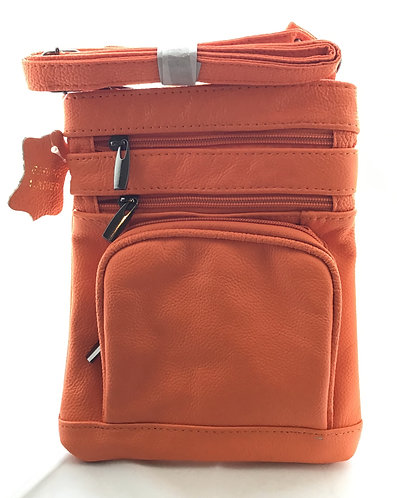 Soft Leather Crossbody Bag - Orange