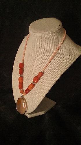 Peach Agate Teardrop Necklace