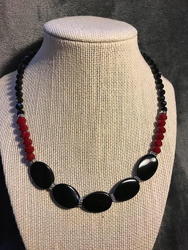 Black & Red Faceted Necklace Set