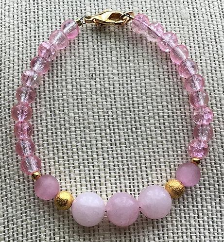 Rose Quartz & Pink Crackle Glass Bracelet