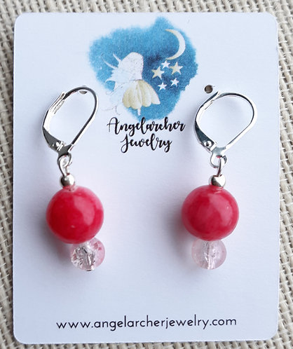 Rose Pink dyed Quartzite Earrings