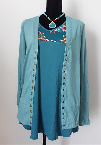 Snap Cardigan Sweater - Dusty Teal