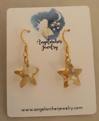 Swarovski Crystal Gold Star Earrings