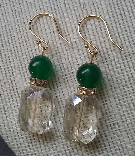 """Perfume Bottle"" Earrings - Green Aventurine"