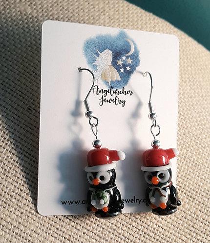 Sledding Penguin Earrings