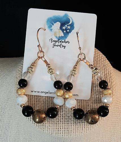 Teardrop Loop Earrings - Black & White
