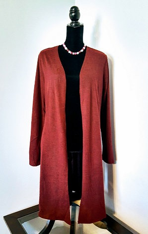Open-Front Cardigan - Heathered Burgundy
