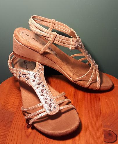 Jeweled Wedge Sandals - Champagne