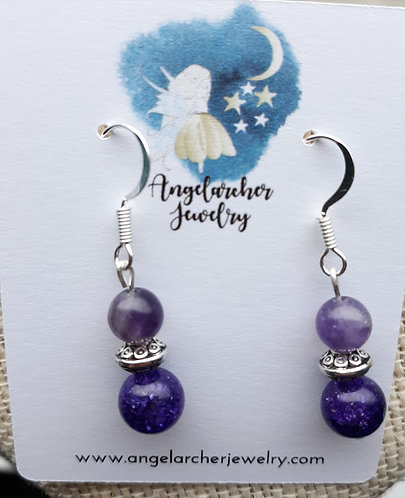 Purple Quartzite & Amethyst Earrings