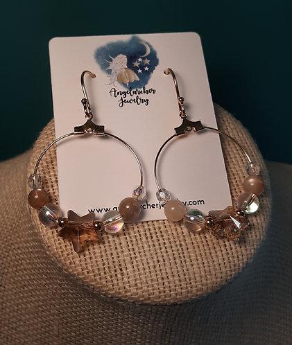Gold Swarovski Star & Sunstone Hoop Earrings