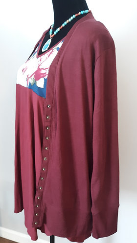 Snap Cardigan Sweater - Burgundy