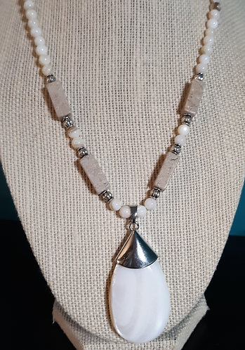Riverstone & White Shell Teardrop Pendant Necklace