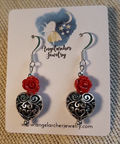 Antique Heart Earrings w/Red Mini Roses