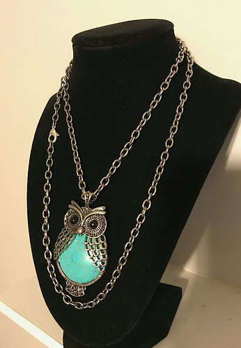 Turquoise Howlite Owl Pendant Necklace