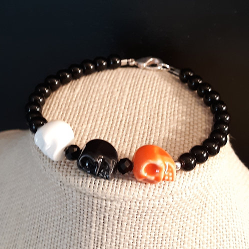 Large Skull Bracelet - White, Black & Orange