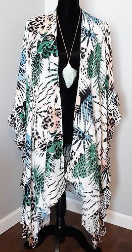 Animal Print Kimono w/Ruffle Trim