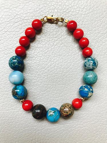 Imperial Jasper & Coral Bamboo Bracelet