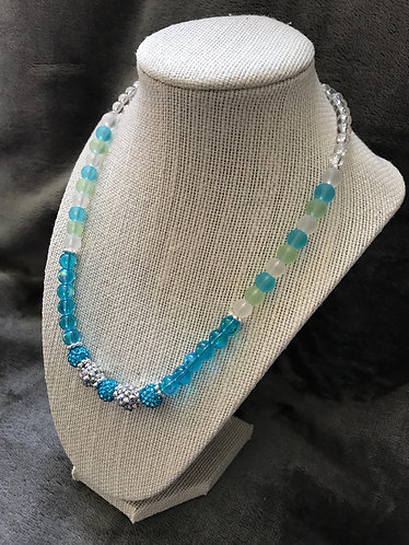 Aqua & Silver Rhinestone Ball Necklace