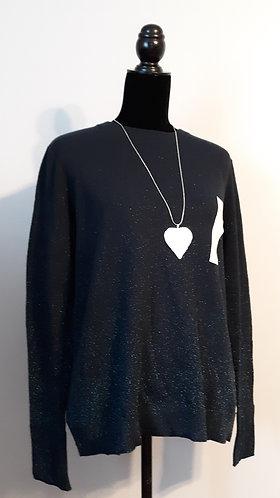 Midnight Blue Glitter Sweater – Large