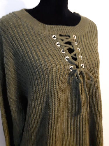 Olive Bulky Knit Lace-up Sweater – 2X