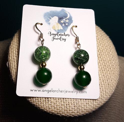 Dark Green Aventurine & Crackle Glass Earrings 12mm