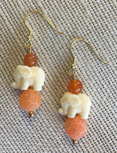 Orange Crackle Agate Elephant Earrings