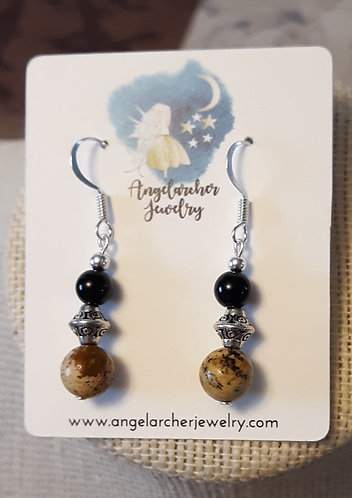 Picture Jasper & Black Jasper Earrings