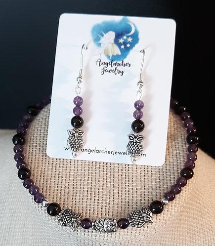 Purple Amethyst & Smoky Quartz Owl Set
