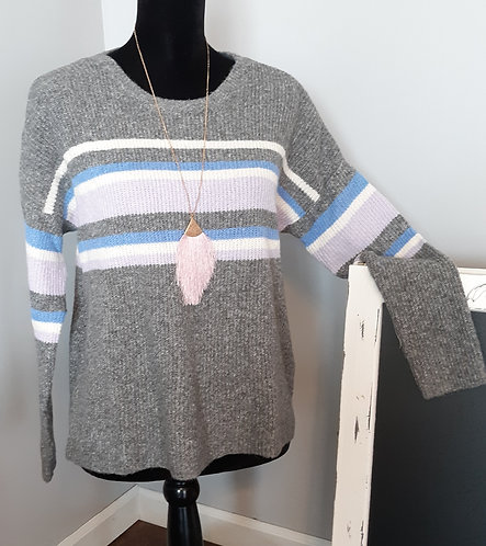 Gray Long-Sleeved Striped Sweater