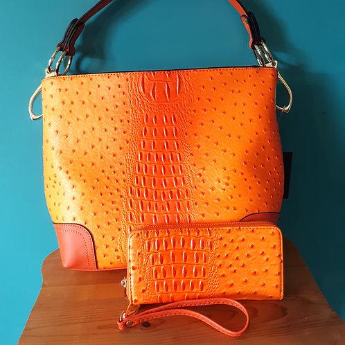 Orange Ostrich Texture Wristlet