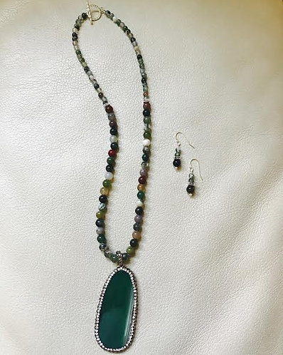 Seafoam Green Fancy Jasper Necklace & Earrings Set