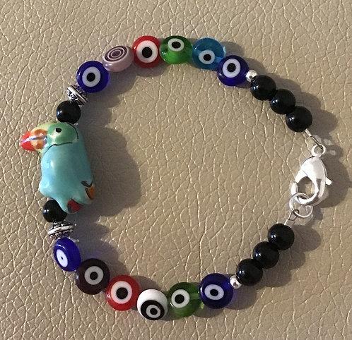 Colorful Toucan Bracelet - Lt Blue w/Eye Dots