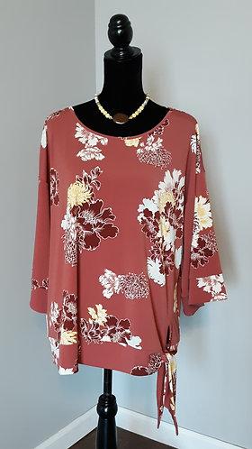 Terracotta Rose Floral Tie-Waist Blouse
