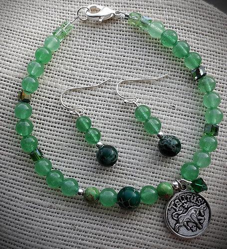 Green May/Taurus Zodiac Bracelet set