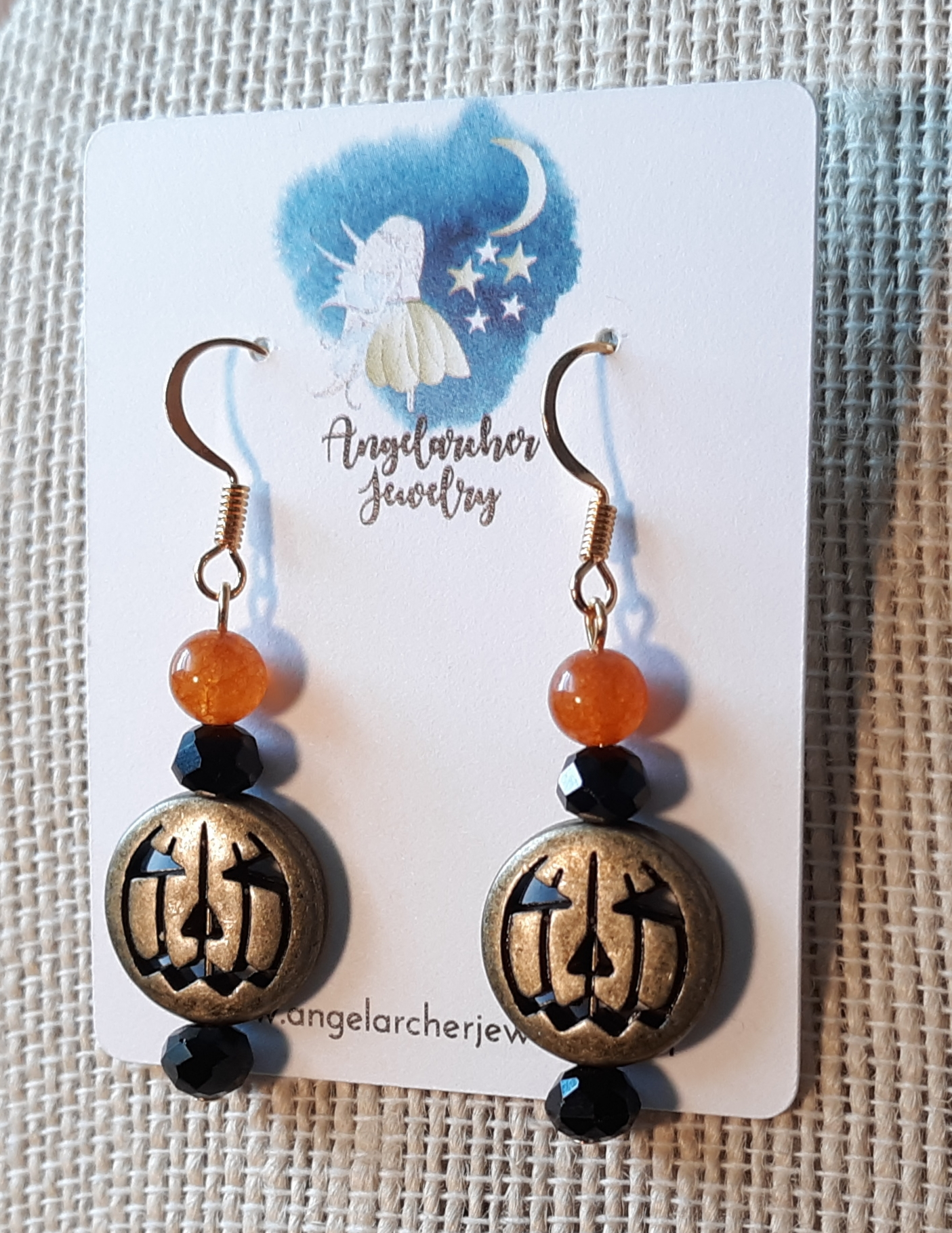 834 - gold metal pumpkin eargs
