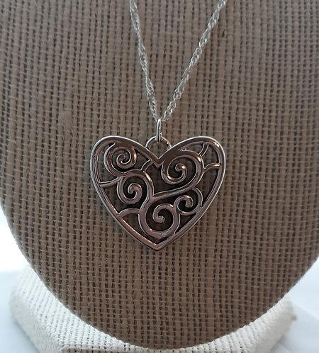 Scroll Heart Pendant Necklace