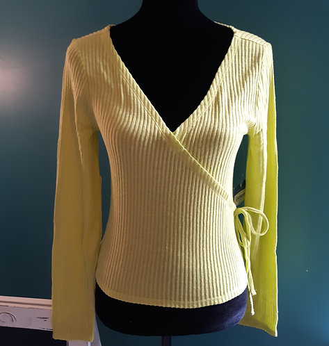 Citron Crop Wrap Sweater with Side-Tie