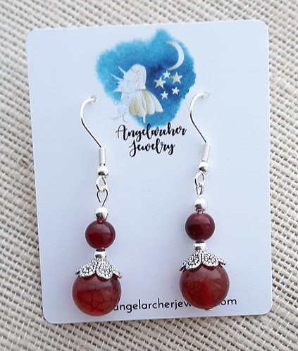 Red-Orange Crackle Agate Earrings