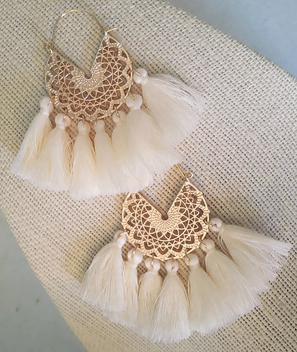 Ivory & Gold Mini Tassel Earrings (Large)