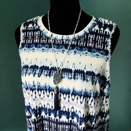 Sleeveless Swing Dress - Blue Multi - Sz MED