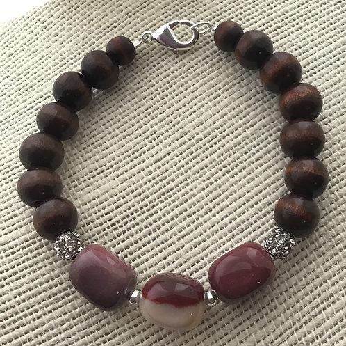 Wood Bead Bracelet w/Yellow Jasper (Burgundy) Stones