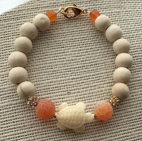 Natural Wood Bead Bracelet w/Turtle & Orange Crackle Agate
