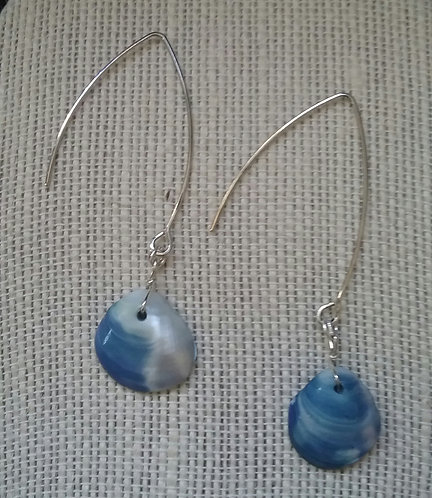 Blue Seashell Earrings