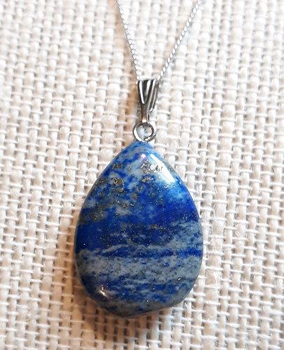 Blue Lapis Teardrop Chain Necklace