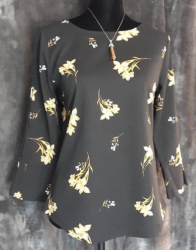 Black & Yellow Floral Split-Sleeve Top
