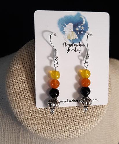 Black, Orange & Yellow Pumpkin Earrings