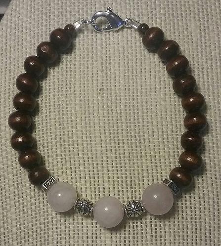 Wood Bead Bracelet w/Rose Quartz Stones