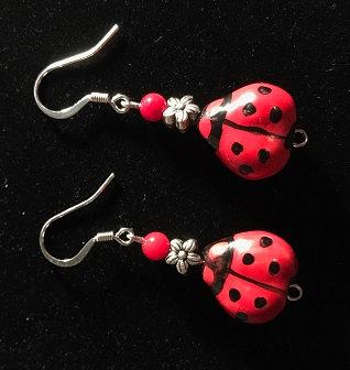 Lucky Ladybug Earrings w/Flower